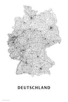 Mapa Německo black & white