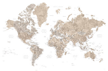 Kort Neutral watercolor detailed world map with cities, Abey