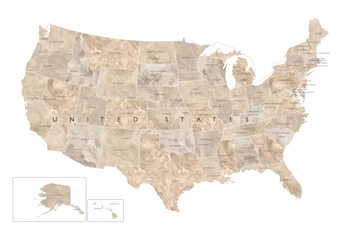 Mapa Neutral watercolor map of the US with state capitals
