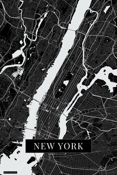 Mapa New York black