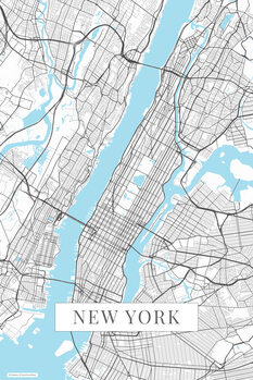 Mapa New York white