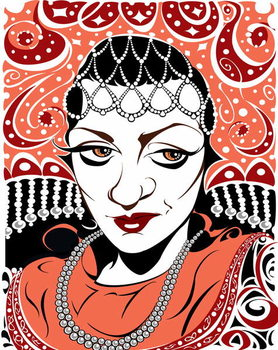 Artă imprimată Olga Borodina, Russian mezzo-soprano, colour version of b/w file image