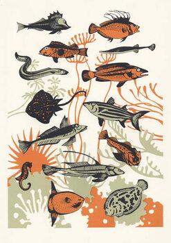 Orange Seaweed Fish, 2015 Kunstdruck