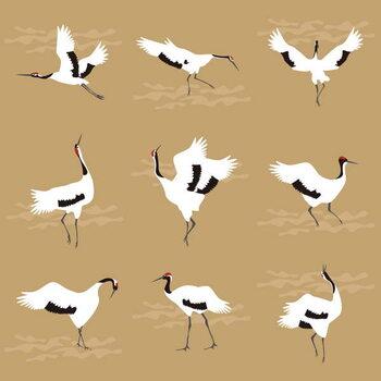 Kunstdruk Oriental Cranes