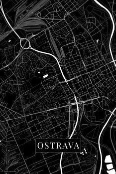 Mapa Ostrava black