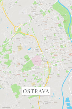 Mapa Ostrava color