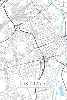 Mapa Ostrava white