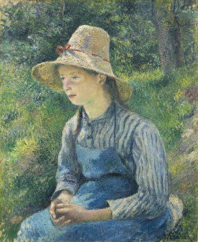 Kunsttryk Peasant Girl with a Straw Hat, 1881