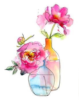 Obrazová reprodukce Peony in vases, 2016,