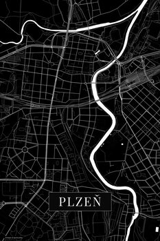 Mapa Plzen black