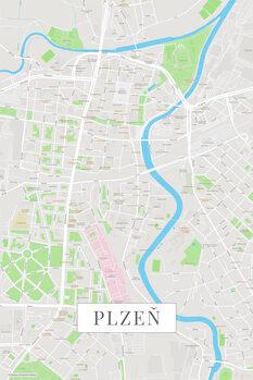 Mapa Plzen color