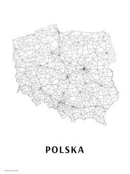 Mapa Polsko black & white