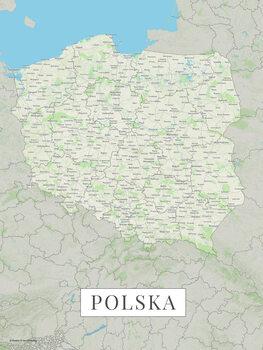 Mapa Polsko color