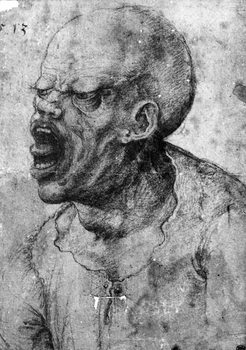 Portrait of a Man Shouting (charcoal on paper) Kunstdruk