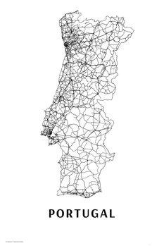 Mapa Portugal black & white