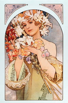 "Poster by Alphonse Mucha  entitled ""The flower"""", series of lithographs on flowers, 1897 - Poster by Alphonse Mucha: ""The flower"" from flowers serie, 1897 Dim 44x66 cm Private collection Kunstdruk"