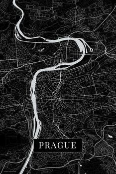 Mapa Praha black