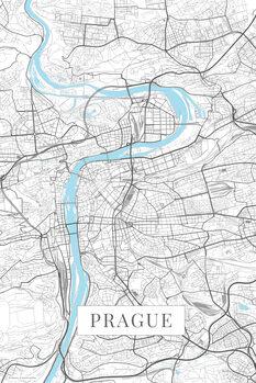 Mapa Praha white