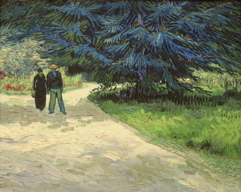 Reproduction de Tableau Public Garden with Couple and Blue Fir Tree: The Poet's Garden III