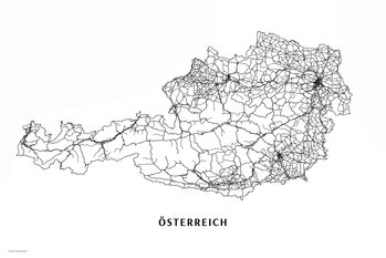Mapa Rakousko black & white