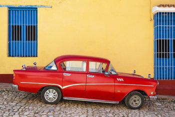 Umělecká fotografie  Red Classic Car in Trinidad