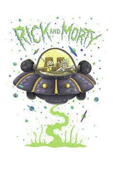 Umělecký tisk Rick a Morty - Vesmírná loď