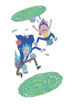 Арт печат Rick & Morty - Голям падане