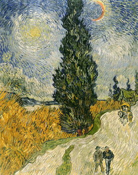 Road with Cypresses, 1890 Reproduction de Tableau