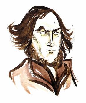 Reprodukcija umjetnosti Robert Browning - caricature of English poet