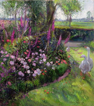 Kunsttryk Rose Bed and Geese, 1992