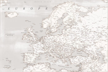 Карта Rustic detailed map of Europe