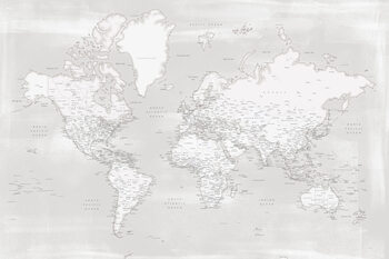 Карта Rustic distressed detailed world map in neutrals