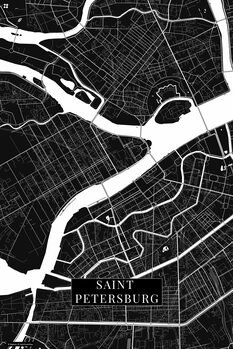 Mapa Saint Petersburg black