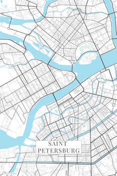 Mapa Saint Petersburg white