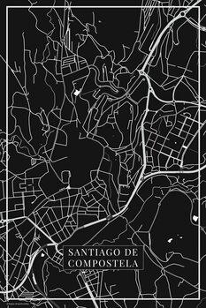 Stadtkarte Santiago de Compostela black