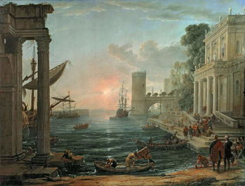 Seaport with the Embarkation of the Queen of Sheba, 1648 Reproduction de Tableau