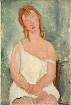 Obrazová reprodukce Seated Young Girl in a Shirt; Jeune fille assise en chemise