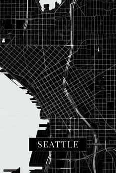 Mapa Seattle black