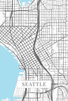 Mapa Seattle white