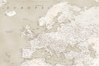 Карта Sepia vintage detailed map of Europe