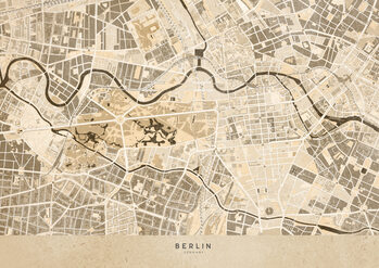 Mapa Sepia vintage map of Berlin