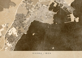 Zemljevid Sepia vintage map of Ibiza