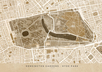 Mappa Sepia vintage map of Kensington Garden London