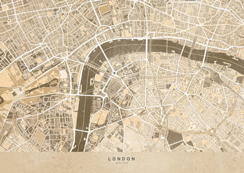Mapa Sepia vintage map of London downtown