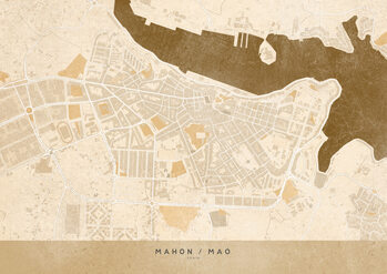 Zemljevid Sepia vintage map of Mahon