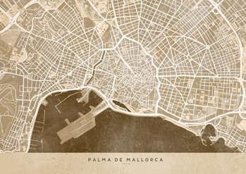 Karta Sepia vintage map of Palma de Mallorca