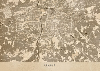 Mapa Sepia vintage map of Prague