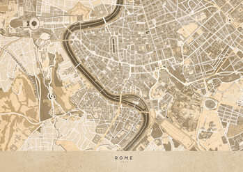Mappa Sepia vintage map of Rome