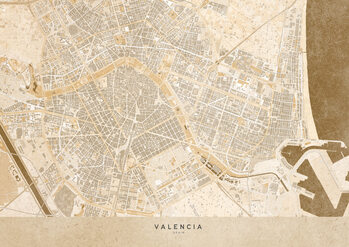 Mapa Sepia vintage map of Valencia