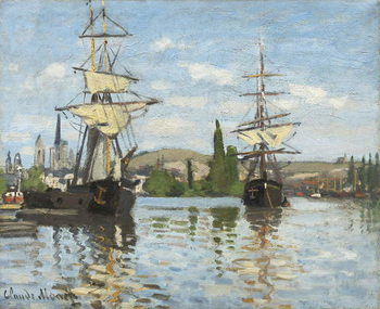 Ships Riding on the Seine at Rouen, 1872- 73 Kunsttryk